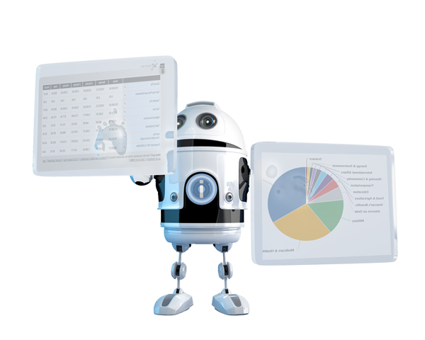 image depicting a robot programming the Federal Budget calculation to show the expenditure per financial category for the transposed cost to a tax payer earning $ 0.00 per year